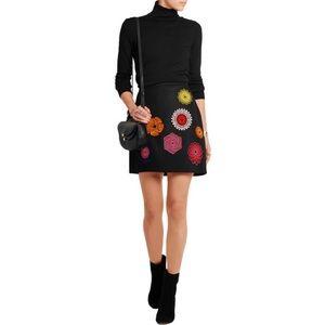 MSGM Embroidered wool-blend felt mini skirt